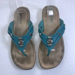 Minnetonka Size 7 Blue Leather Sandals Flip Flops